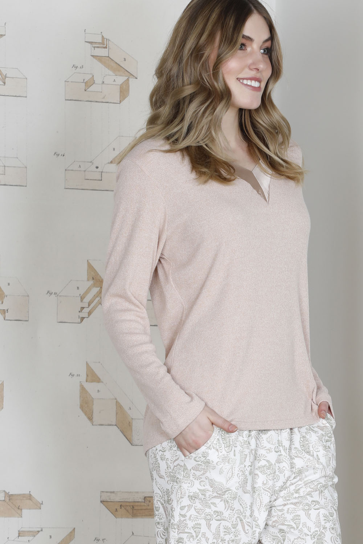 Hays Plus Size Saten Yaka Detaylı Triko Üst Penye Alt Pijama Takımı