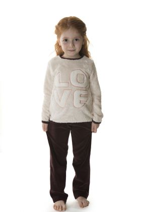 Kids Kız Çocuk Üst Wellsoft Alt Kadife 2li Uzun Pijama Takımı