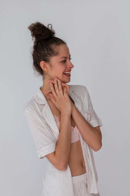 Hays Kadın Gömlek Model Kısa Kollu Penye Modal Üst