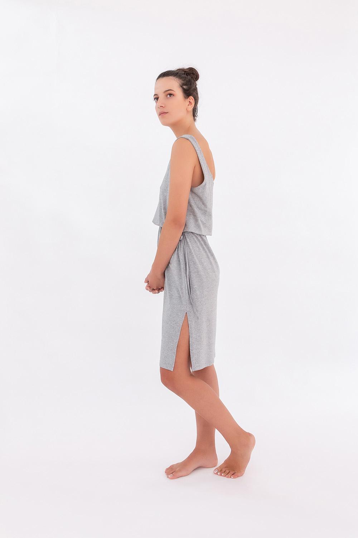 Hays Kadın Bel Bağlama Detaylı Kolsuz Penye Modal Elbise