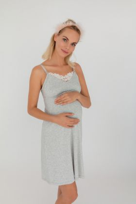 Kadın Mom Dantelli Emzirme Fonksiyonlu Modal Penye Gecelik
