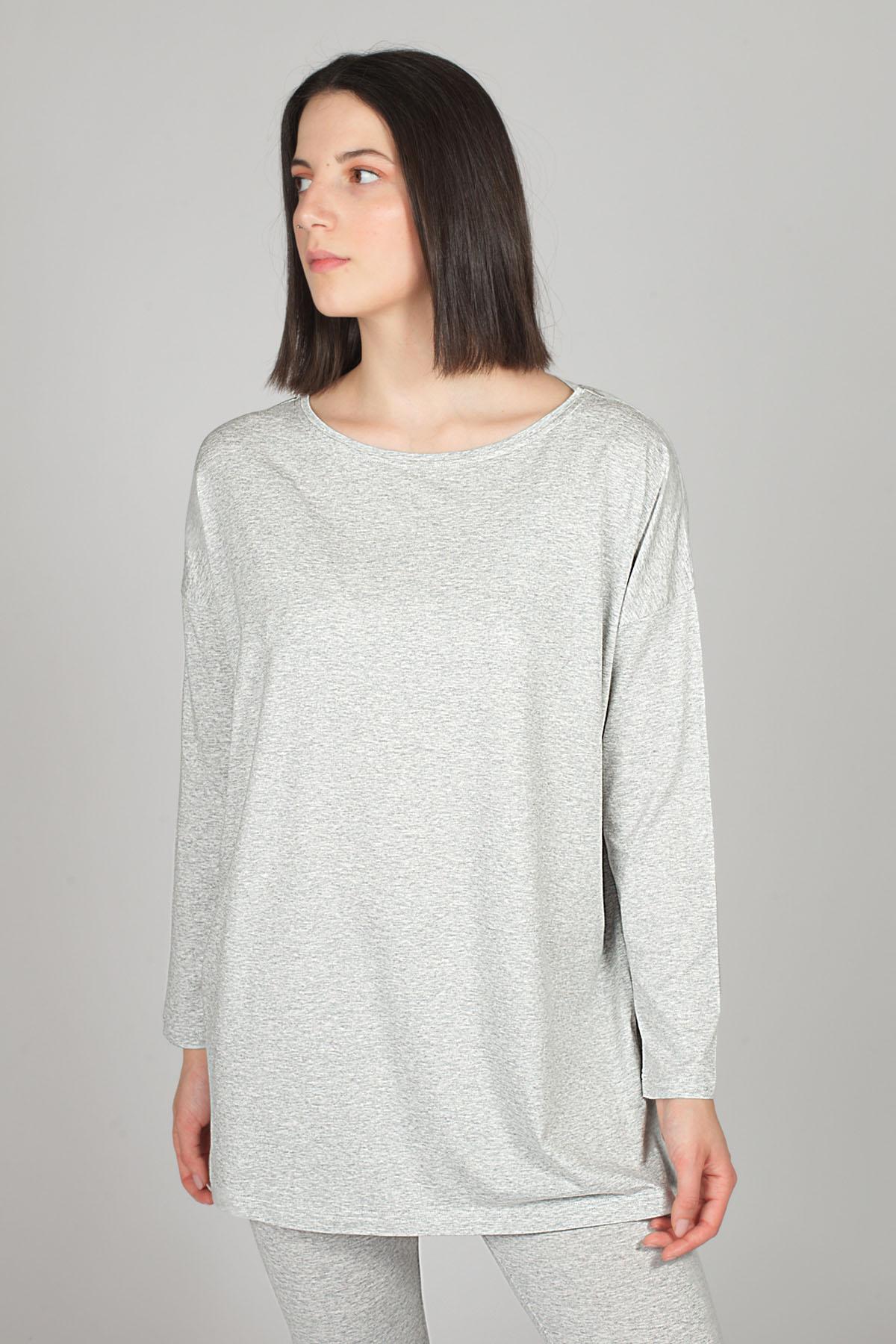 Hays Kadın Gri Modal Uzun Kollu Bluz