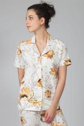 Kadın Kısa Kollu Gömlek Pijama Üstü