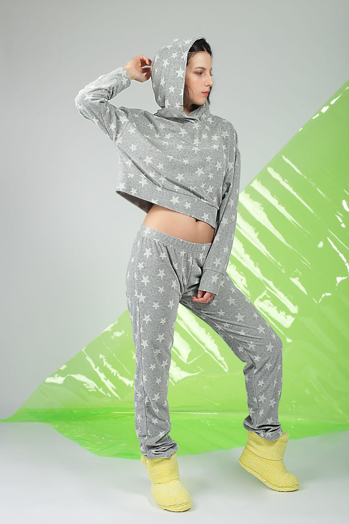 Hays Kadın Yıldız Desenli Kadife Sweatshirt