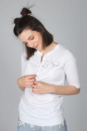 Kadın Önden Düğmeli Penye Bluz