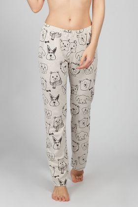 Hays Kadın Desenli Bej Pantolon