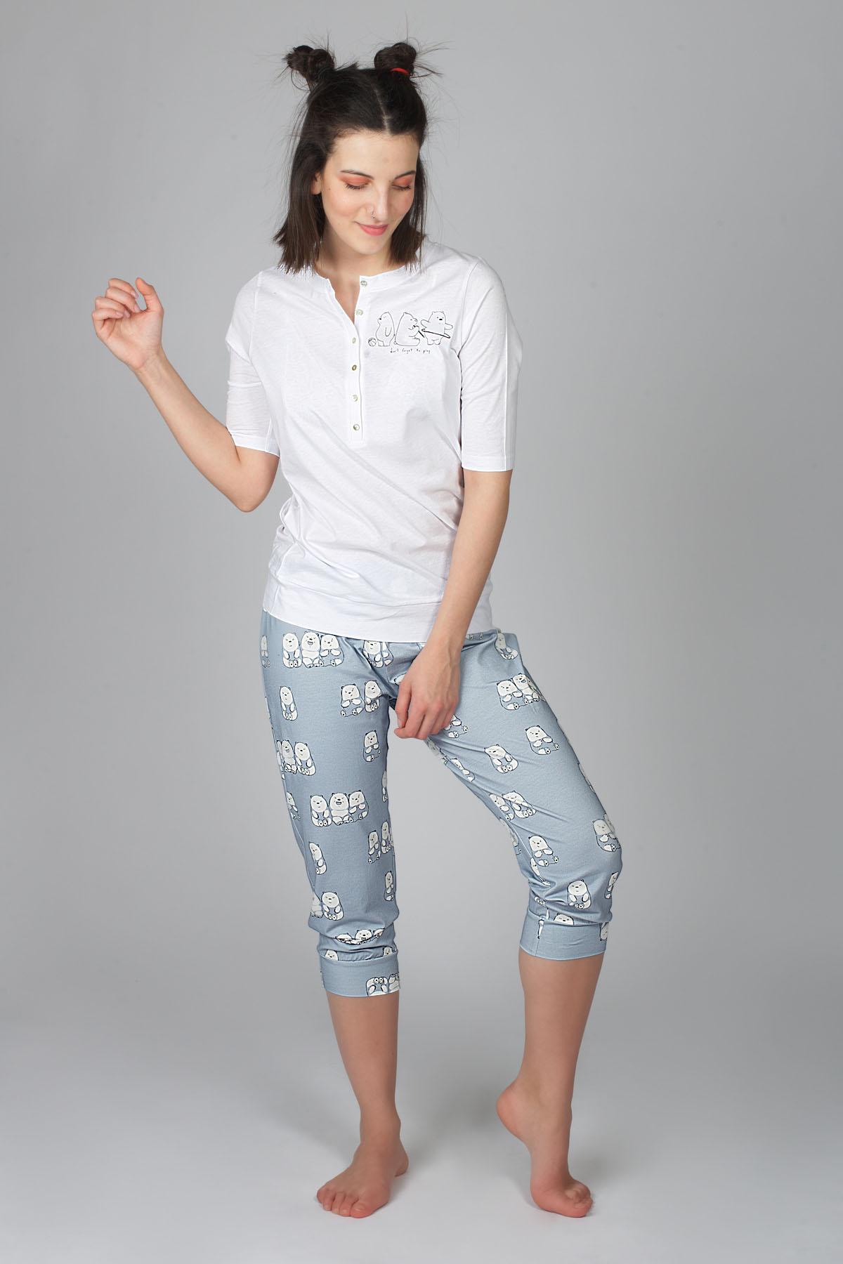 Hays Kadın Önden Düğmeli Midi Boy Pijama Takımı