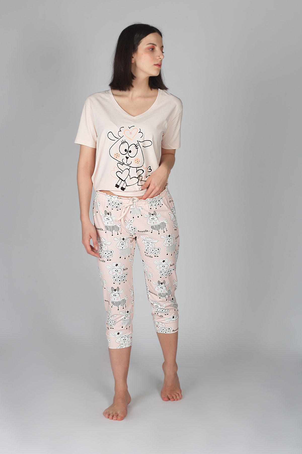 Hays Kadın Kuzu Desenli Penye Pijama Takımı