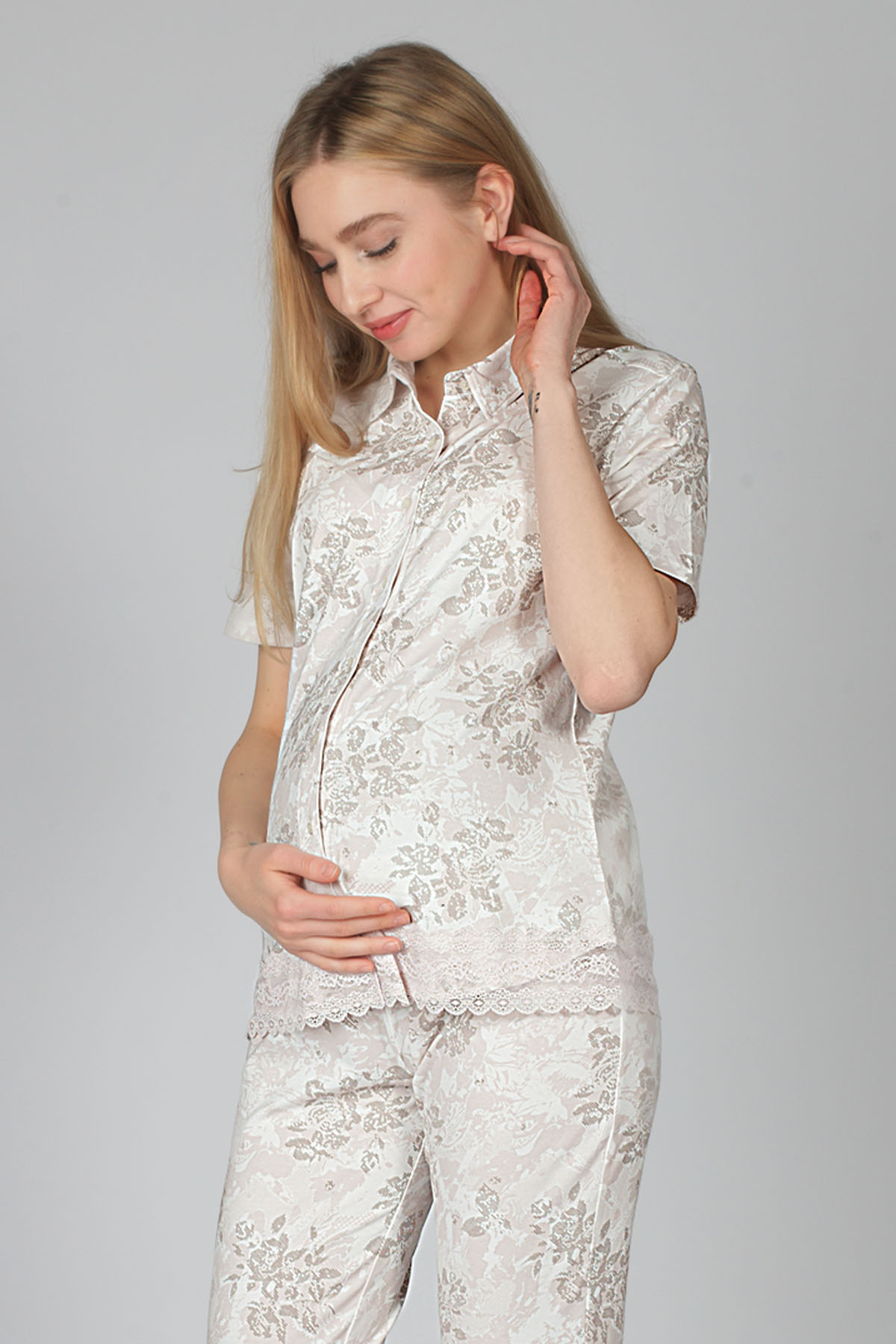 Hays Hamile Kısa Kollu Gömlek Pijama Üstü