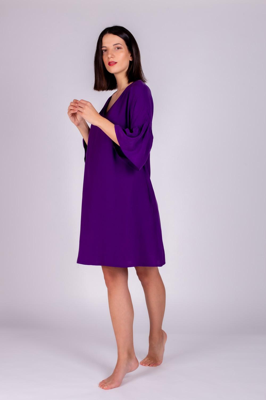 Hays Kadın Vegan Kolları Fır Fır  Detaylı Yarım Kollu Elbise