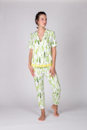 Kadın Gömlek Yakalı Üstlü Midi Pijama Takımı