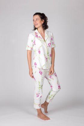 Hays Kadın Kısa Kollu Gömlek Üstlü Midi Pijama Takımı