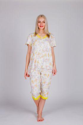 Kadın Kısa Kollu Düğme Detaylı Kapri Pijama Takımı