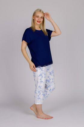 Kadın Kısa Kollu Midi Pijama Takımı