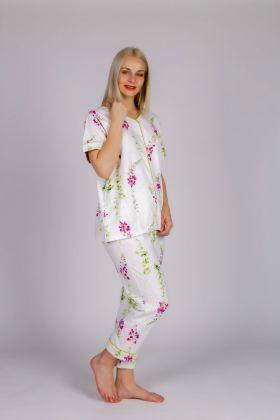 Kadın Düğmeli Kısa Kollu Üstlü Midi Pijama Takımı