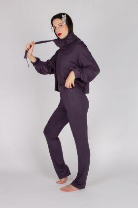 Kadın Boğaz  Detaylı Uzun  Pijama Takımı