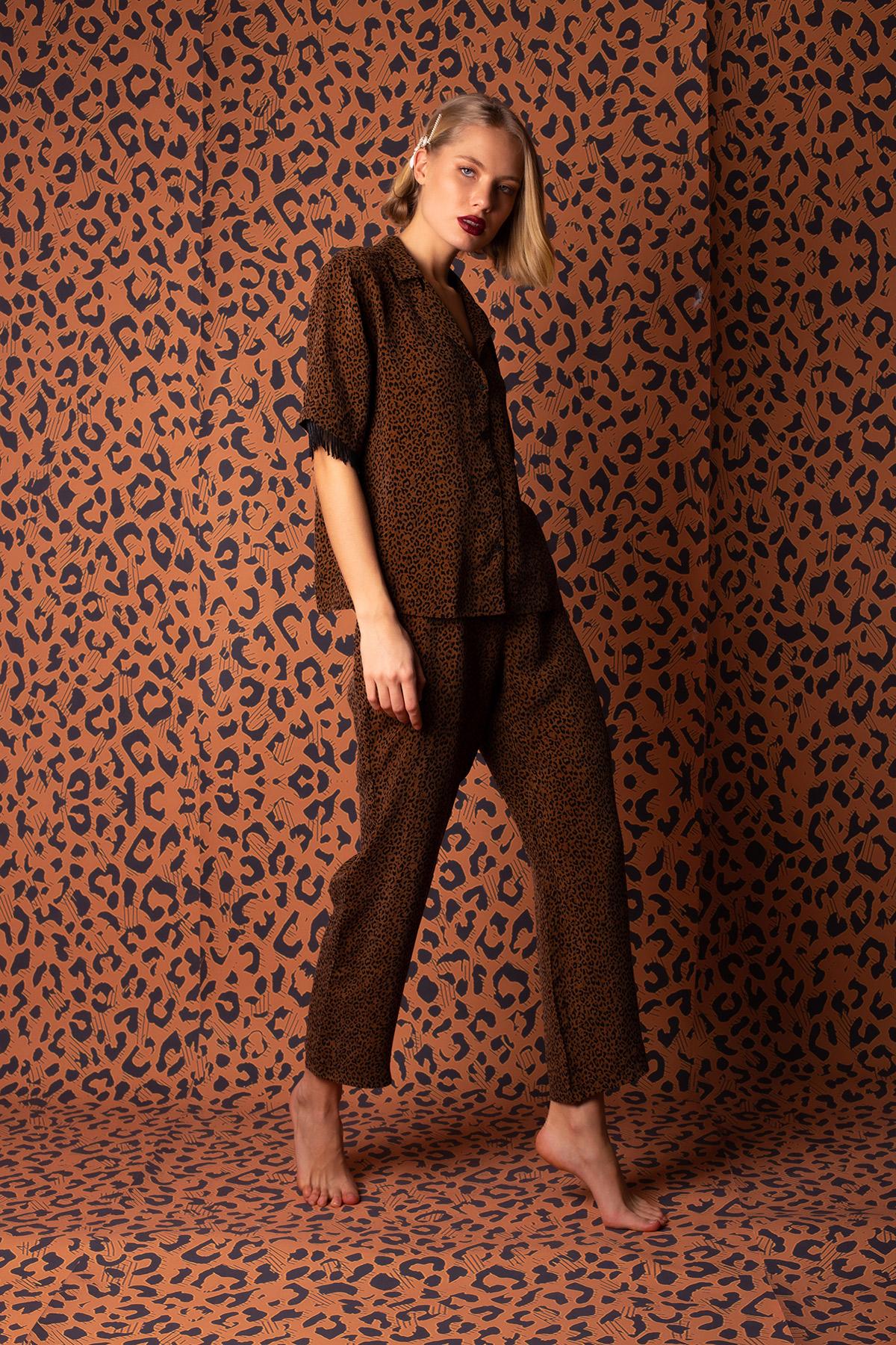 Kadın Vegan Cupro Püskül Detaylı Pijama Takımı