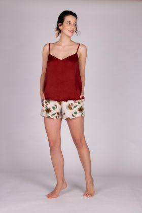 Kadın Vegan Şortlu Pijama Takımı