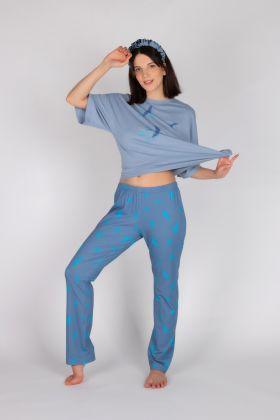 Kadın Pamuklu Kuş Desenli Kısa Kollu Pijama Takımı