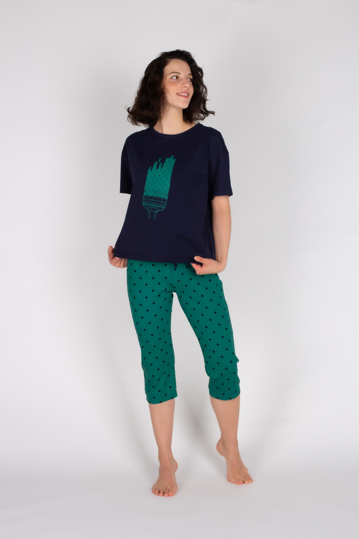 Kadın Kapri Pijama Takımı