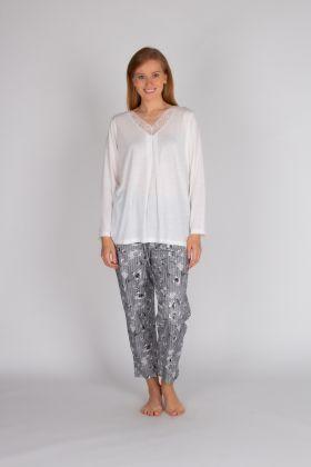Kadın Büyük Beden Uzun Pijama Takımı