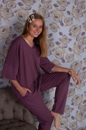 Hays Kadın Uzun Kollu Büyük Beden Uzun Pijama Takımı