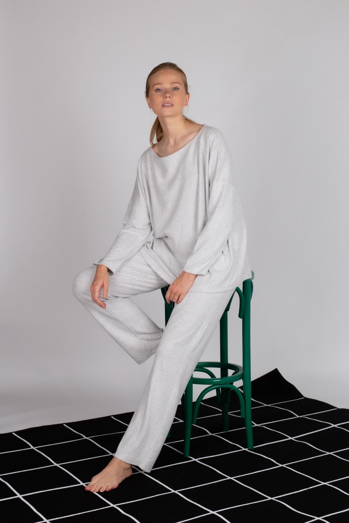 Hays Kadın Triko Uzun Kollu Büyük Beden Pijama Takımı