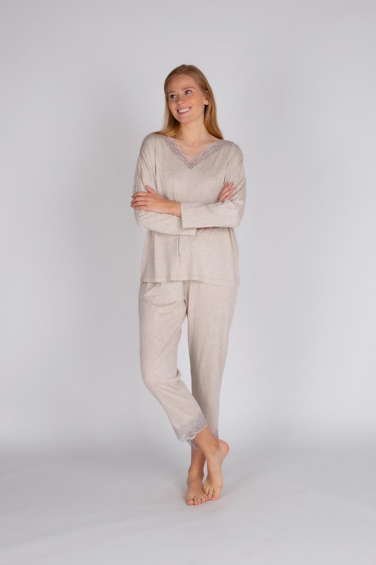 Hays Kadın Modal Dantel Detaylı Büyük Beden Uzun Pijama Takımı