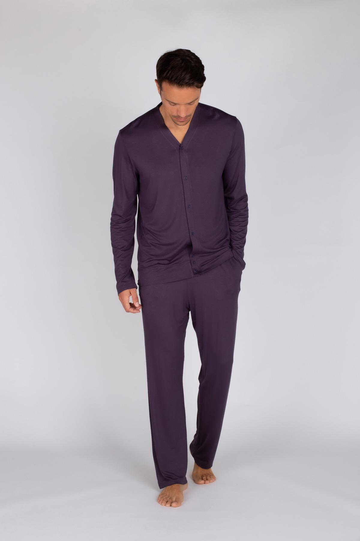 Erkek Uzun Viskon Pijama Takımı