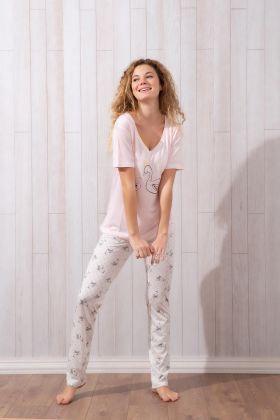 Kadın Kısa Kollu Uzun Pijama