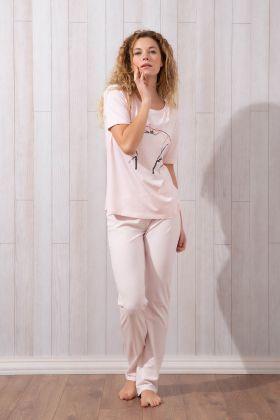 Kadın Kısa Kol Uzun Pijama Takımı