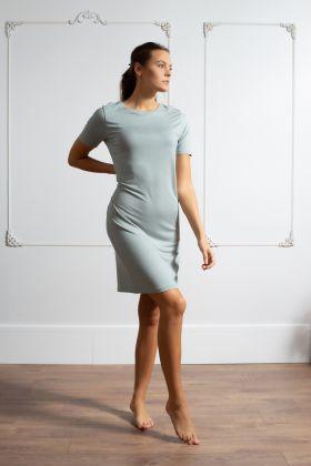 Kadın Diz Altı Kısa Kollu Elbise