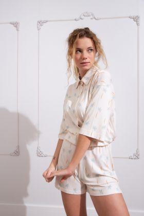 Kadın Soft Palmiye Baskılı Şortlu Pijama Takımı