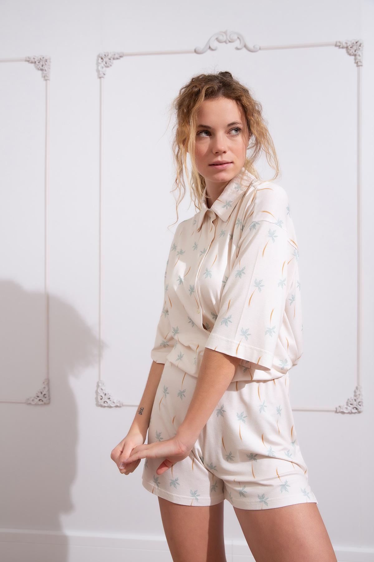 Hays Kadın Soft Palmiye Baskılı Şortlu Pijama Takımı