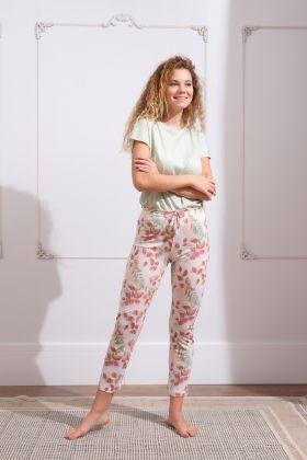 Kadın Kuş Çiçek Baskılı Midi Kapri Pijama Takımı