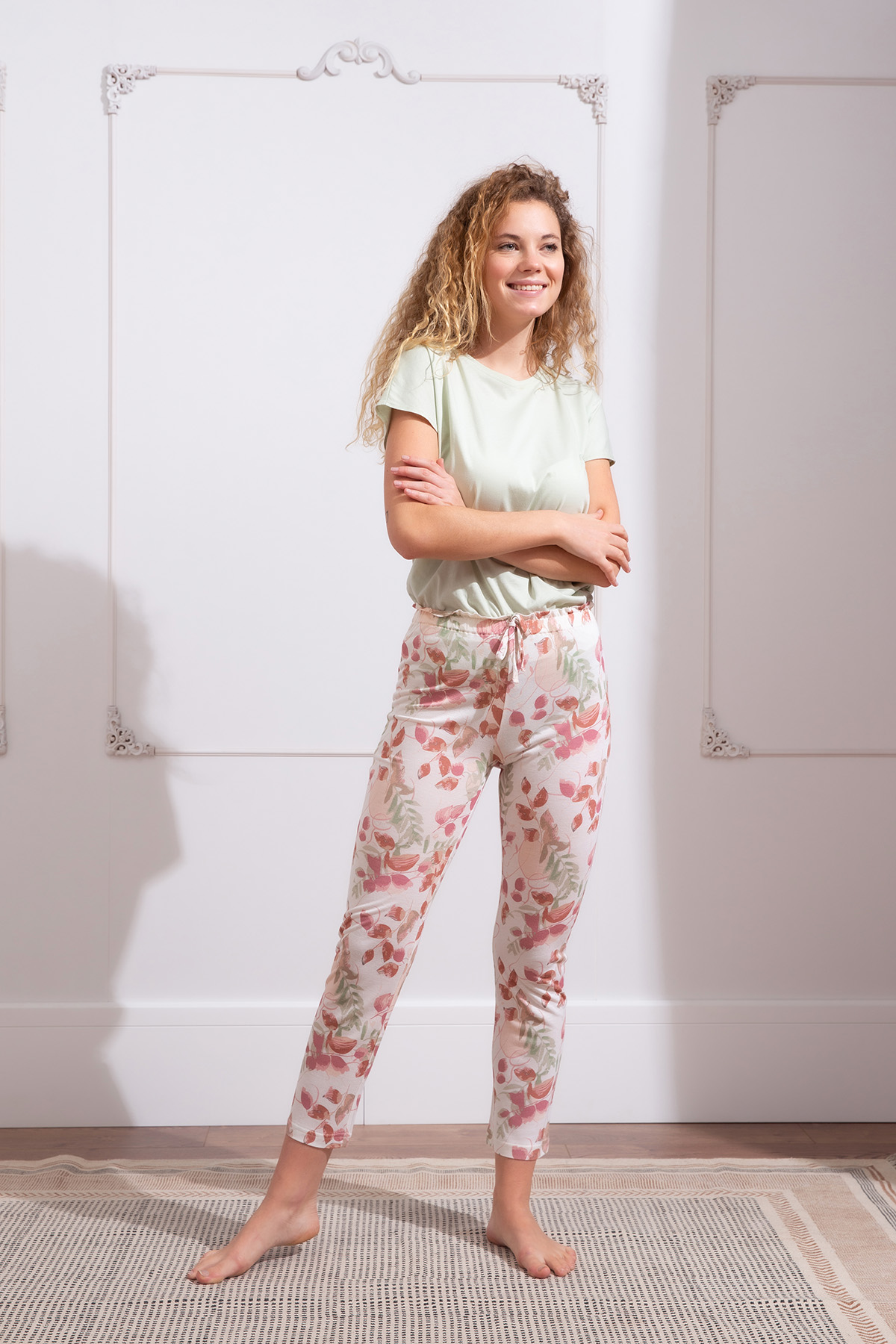 Hays Kadın Kuş Çiçek Baskılı Midi Kapri Pijama Takımı