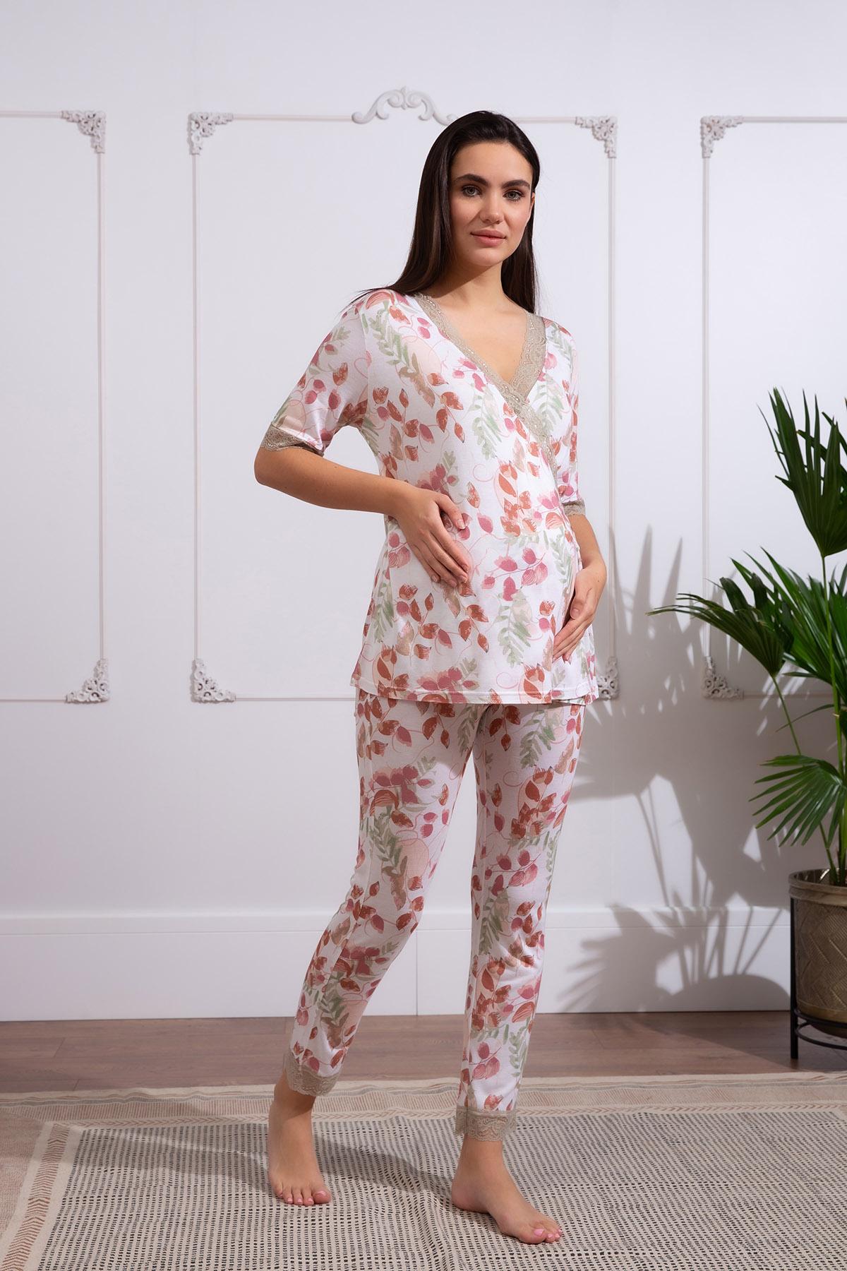Hays Kadın Lohusa Dantel Detaylı Uzun Pijama Takımı