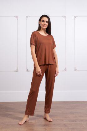 Kadın Büyük Beden Uzun Pantolonlu Ev Giyim Takım