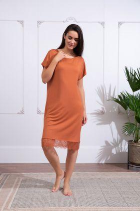 Kadın Büyük Beden Kısa Kollu Dantel Detaylı Elbise