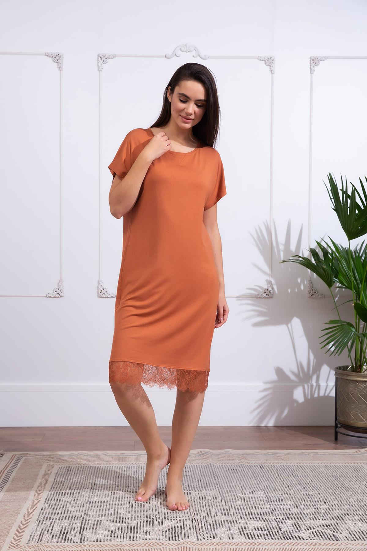 Hays Kadın Büyük Beden Kısa Kollu Dantel Detaylı Elbise
