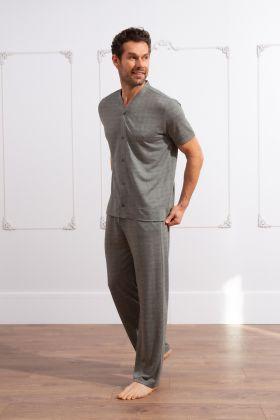 Erkek Kısa Kollu Uzun Pijama Takımı