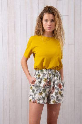 Kadın Tropik Baskılı Şortlu Ev Giyim Takım