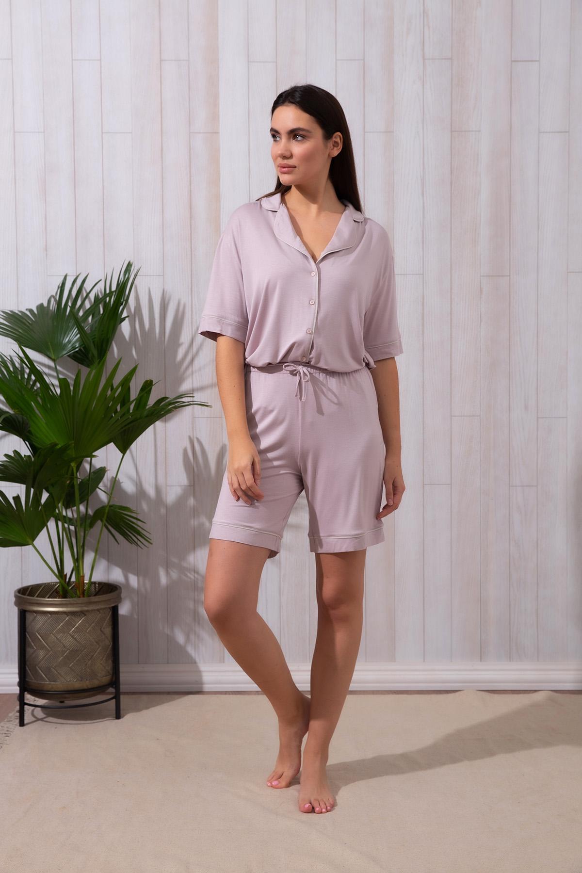 Kadın Büyük Beden Şortlu Pijama Takımı