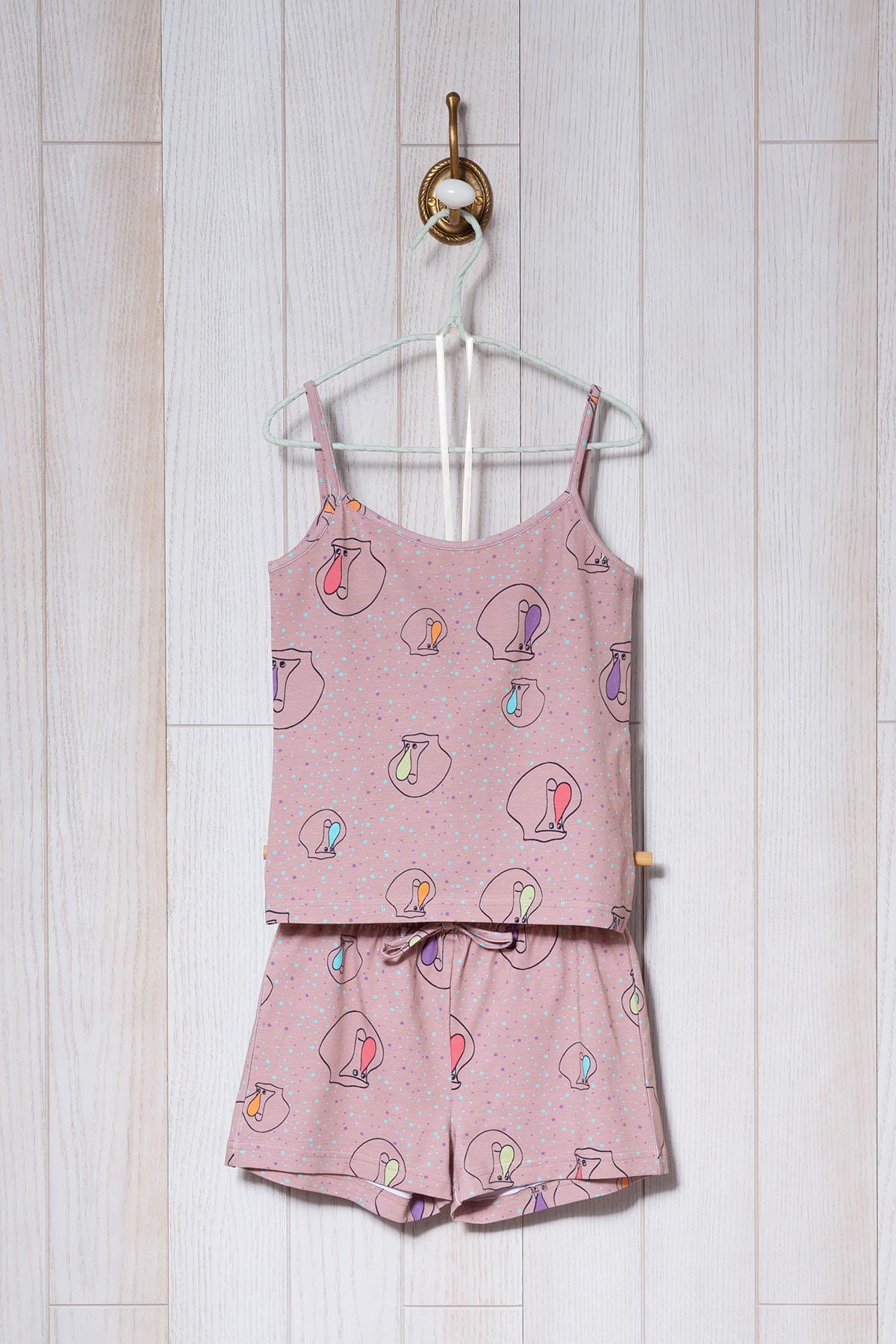Kız Çocuk Proboscis Baskılı Şortlu Pijama Takımı