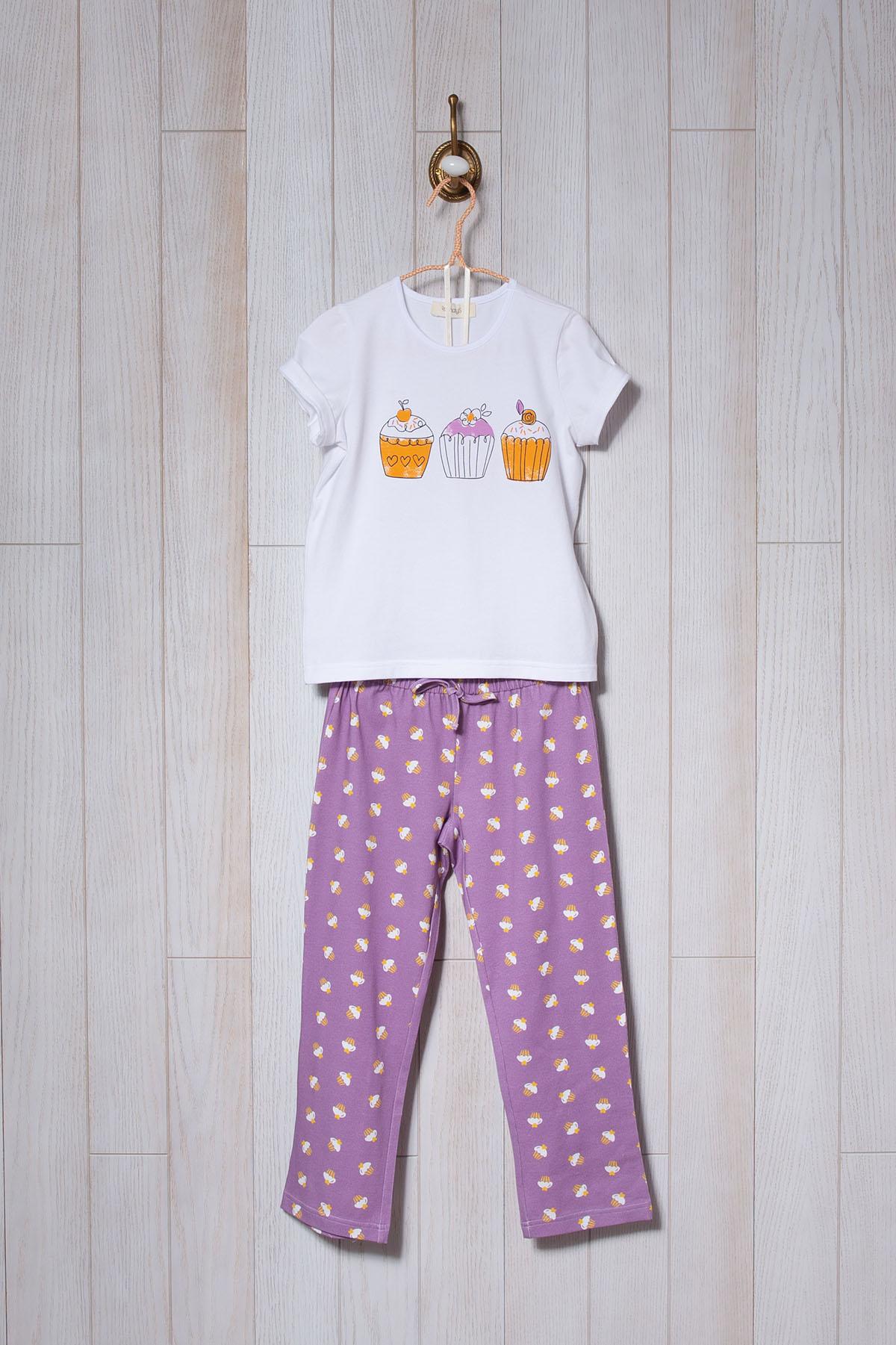 Kız Çocuk Cupcake Baskılı Midi Pijama Takımı