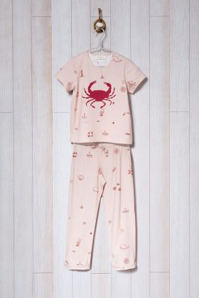 Kız Çocuk Deniz Desen Baskılı Midi Pijama Takımı