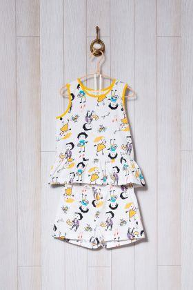 Kız Çocuk Çocuk Desen Baskılı Şortlu Pijama Takımı
