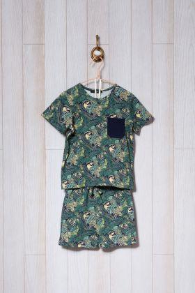 Erkek Çocuk Yeşil Desen Baskılı Şortlu Pijama Takımı