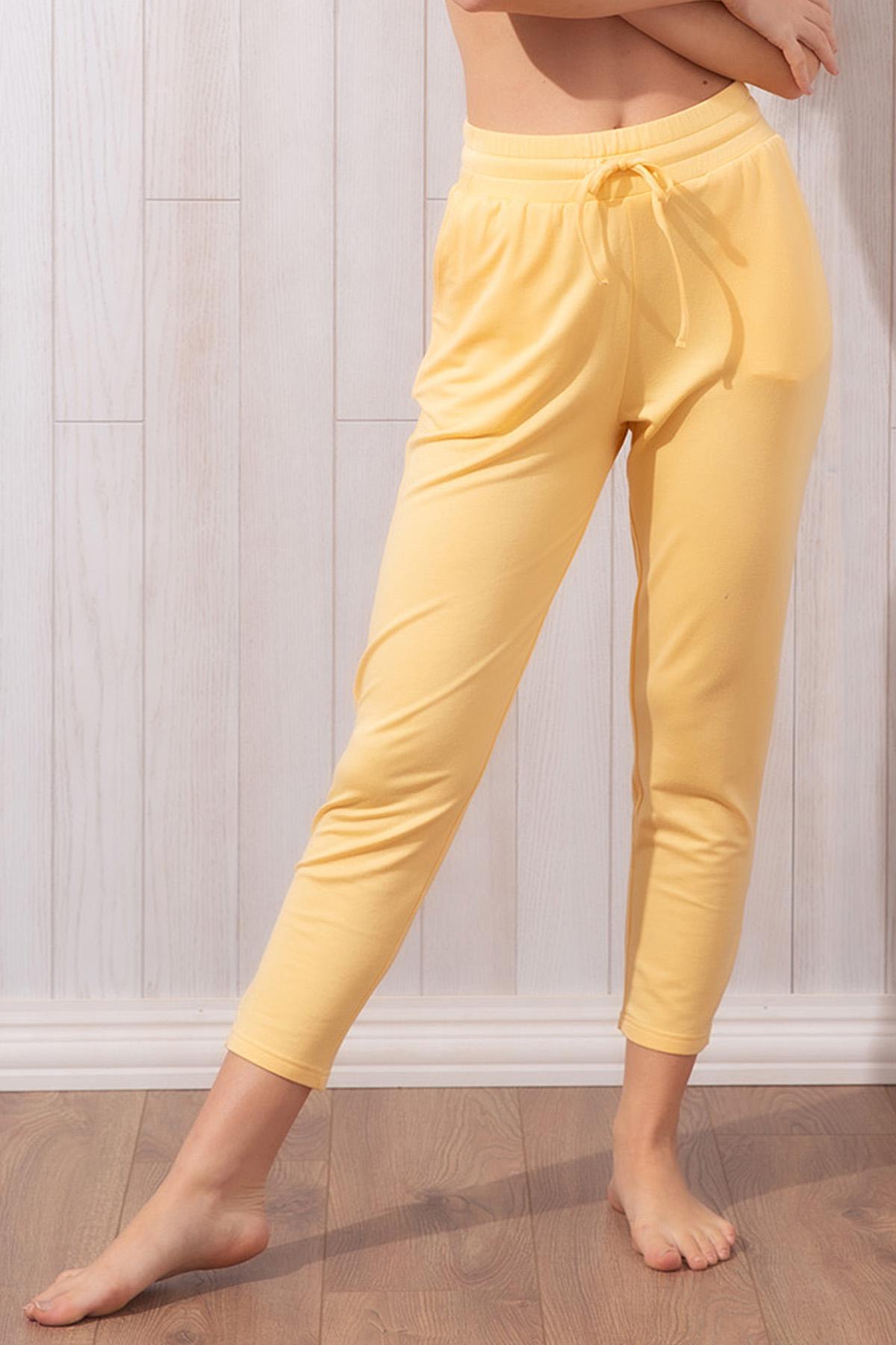 Kadın Sarı Iki Iplik Pantolon