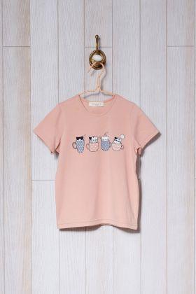 Kız Çocuk Kedi Baskılı Midi - Kapri Pijama Takımı